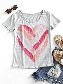 Camiseta Con Estampado U Neck Heart Print - Gris M