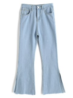 Slit Light Wash Bootcut Jeans - Blue Xl