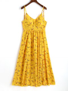 Slit Printed Maxi Slip Dress - Yellow L