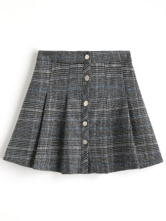 Pleated Button Up Tweed Skirt - Checked L