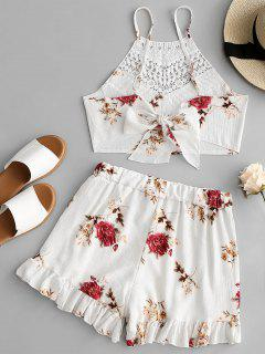 Open Back Crochet Panel Top And Ruffle Shorts Set - White M