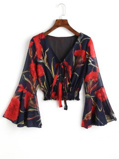 Bell Sleeve Floral Crop Top - Red M