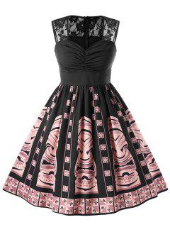 Vestido Vintage De Estampado étnico Con Cuello Cariño - Negro 5xl
