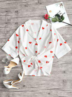 Blusa Con Estampado De Corazones Y Cuello Chal - Blanco M