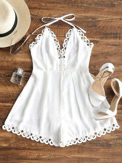 Backless Lacework Halter Romper - White L