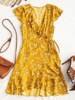 Robe Courte Cache-Coeur Florale à Volants - Jaune M