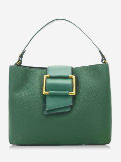 Faux Leather Buckled Handbag - Green