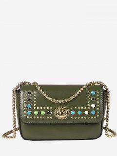 Chain Studs Crossbody Bag - Green