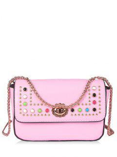 Chain Studs Crossbody Bag - Pink