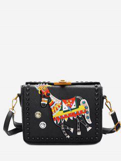 Animal Embroidery Studded Crossbody Bag - Black