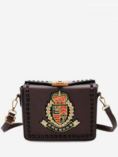 Embroidery Studs Crossbody Bag - Brown