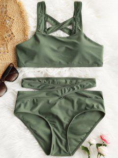 Padded Lattice Back Bandage Bikini Set - Army Green L