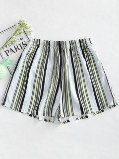 High Waist Striped Loose Shorts - Stripe L
