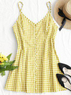 Button Up Plaid Mini Dress - Yellow M