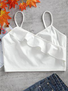 Ruffle Hem Cami Crop Top - White L