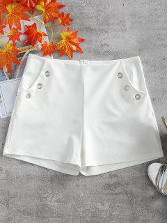 Metal Ring Embellished Pockets Shorts - White L