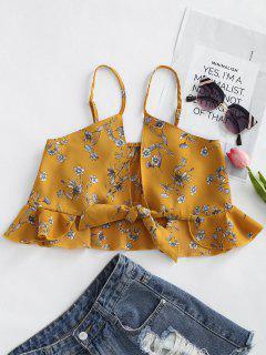 Blumendruck Rüschen Gebunden Cami Top - Khaki L