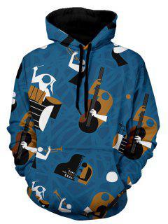 Kangaroo Pocket Musical Instruments Pattern Hoodie - Blue 3xl