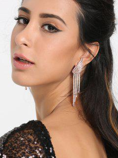 Rhinestoned Fringed Chain Angel Wings Earrings - Silver