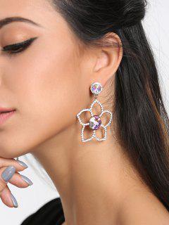 Pendientes De Pétalos De Flores De Diamantes De Imitación De San Valentín - Plata