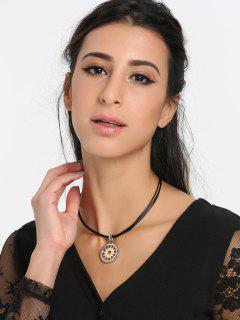 Faux Leather Rope Gear Round Necklace - Golden