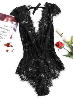Plunge Neck Lace Backless Teddy - Negro Xl