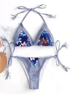 Conjunto De Bikini Con Cadena De Rayas Borla - Azul Y Blanco S