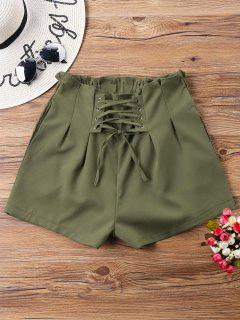 High Waist Lace Up Shorts - Army Green M