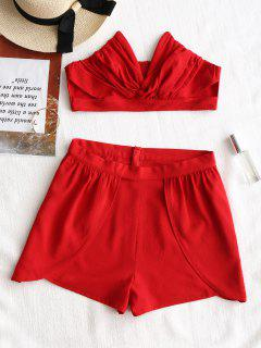 Moulds Strapless Top And Layered Shorts Set - Red M