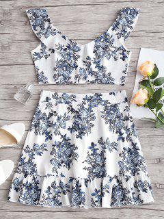 Ruffles Floral Crop Top And Skirt Set - Floral L