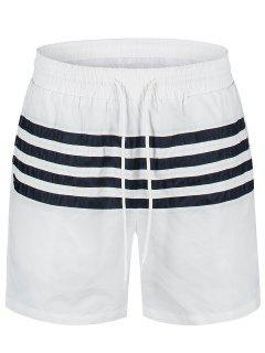 Striped Beach Board Shorts - White Xl