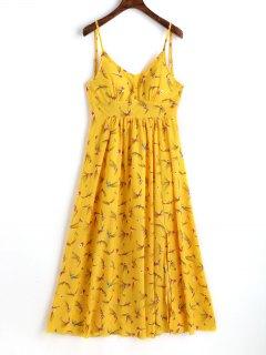Robe Longue Fendue Imprimée - Jaune Xl