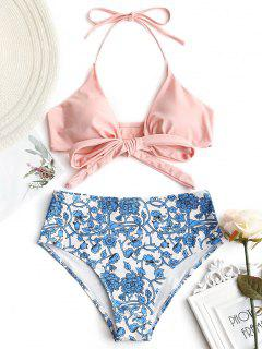 Wrap Bikini Top With Tiny Floral Bottoms - Shallow Pink M