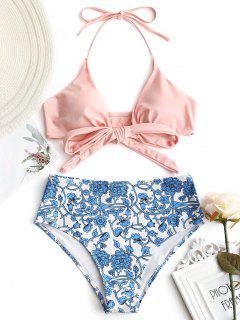 Wickeln Sie Bikini Top Mit Winziger Blumen Badehose - Pink S