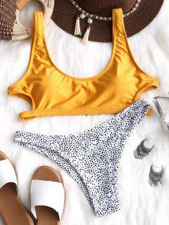 Cutout Leopard Bikini Set - Yellow L