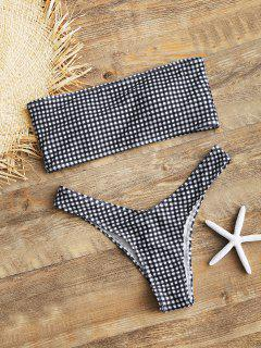 High Cut Plaid Bandeau Bikini Set - White And Black M