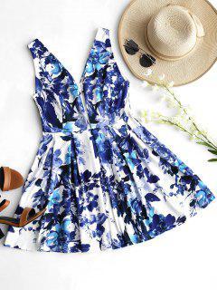 V Neck Cut Out Floral Flare Dress - Floral M