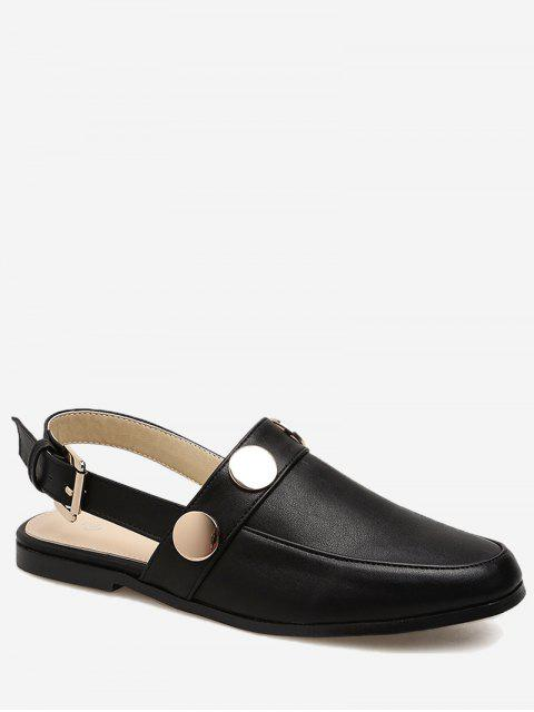 affordable Round Toe Metal Slingback Flats - BLACK 36 Mobile