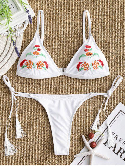 best Embroidered Bikini Bra with Thong String Bottoms - WHITE M Mobile