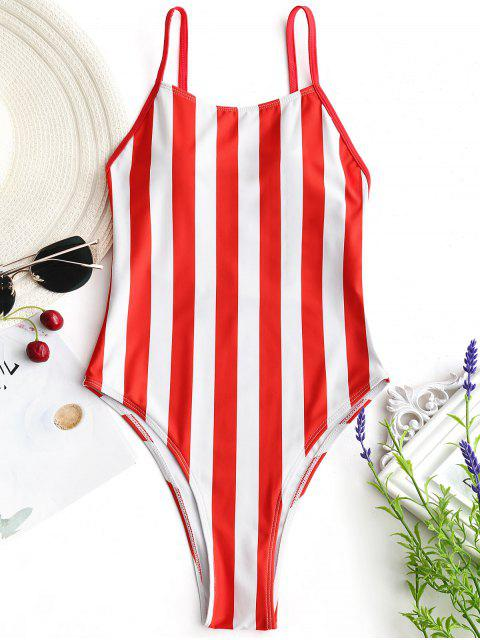 outfit High Cut One Piece Striped Swimwear - RED WITH WHITE M Mobile