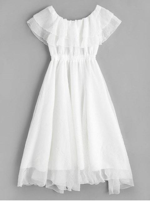 ladies Off Shoulder Tiered Flounce Dress - WHITE XL Mobile