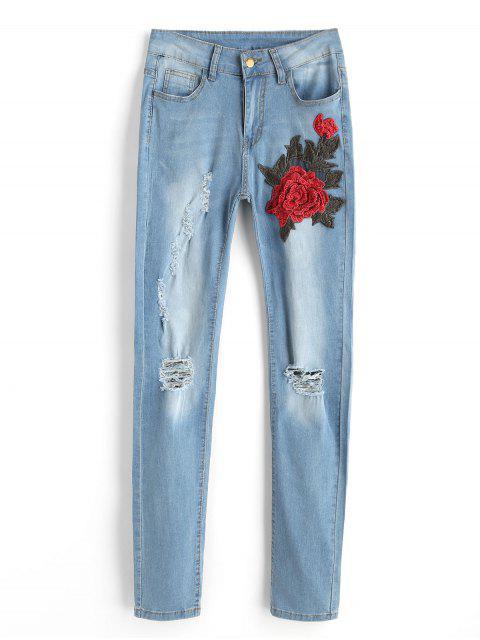 Pantalones vaqueros rasgados remendados florales - Azul Claro M Mobile