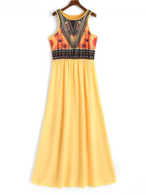 trendy Floral Print Sleeveless Bohemian Dress - YELLOW L Mobile