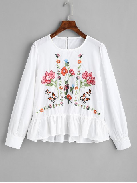 sale Ruffles Embroidered Blouse - WHITE S Mobile