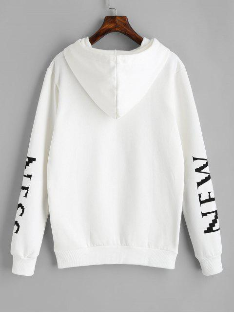 buy Drawstring Letter Logo Hoodie - WHITE M Mobile