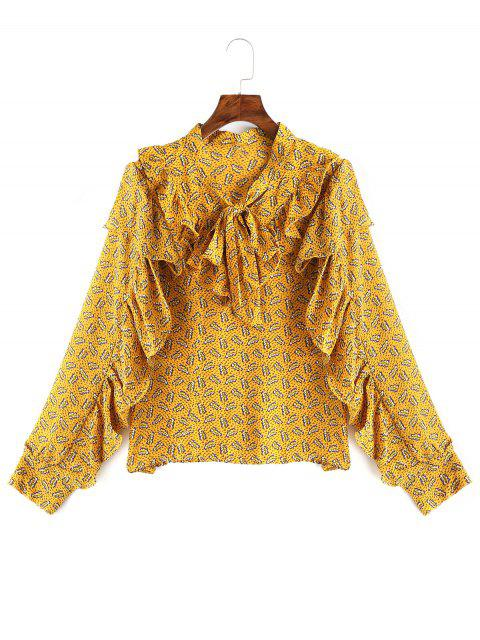 women Bow Tied Ruffle Floral Blouse - YELLOW ONE SIZE Mobile