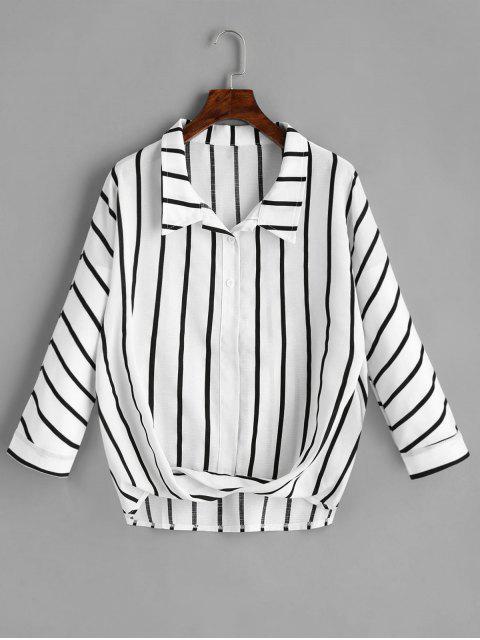 lady Long Sleeve Striped Twist Shirt - STRIPE L Mobile