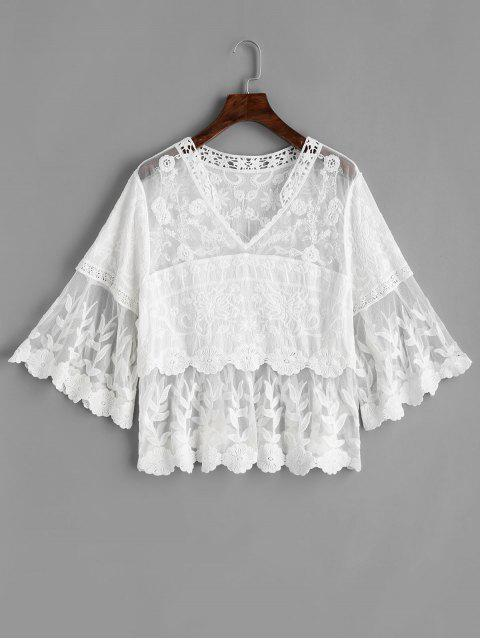 best Mesh Panel Floral Lacework Blouse - WHITE ONE SIZE Mobile