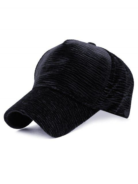 new Unique Solid Color Striped Pattern Baseball Cap - BLACK  Mobile