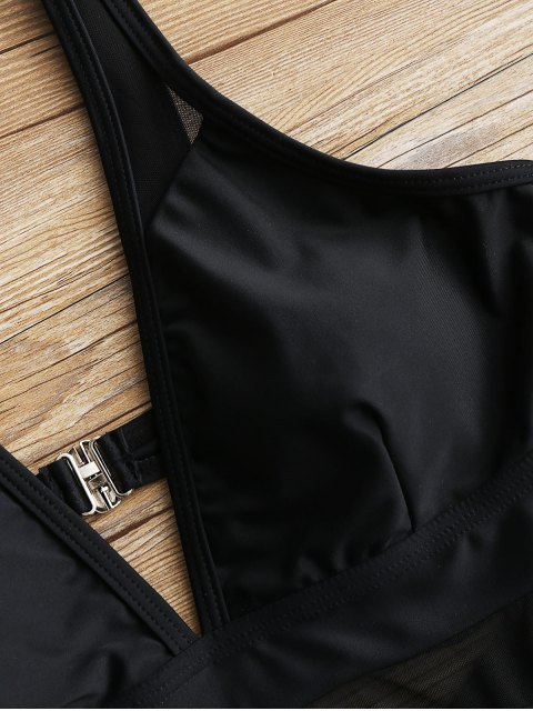 Traje de baño de una pieza de inserción de malla de corte bajo - Negro S Mobile